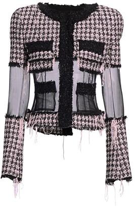 Balmain Chiffon-Trimmed Tweed Jacket