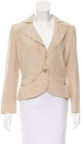 Valentino Silk Notch-Lapel Blazer