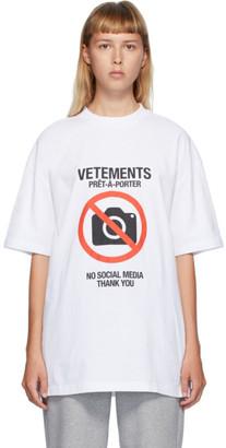 Vetements White Anti-Social T-Shirt