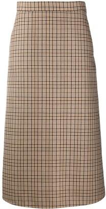 MSGM plaid check A-line skirt