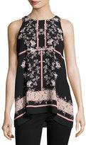 Max Studio Floral-Print Crepe Tank Top, Black/Pink