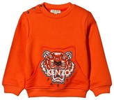 Kenzo Orange Tiger Print Sweatshirt with Pockets