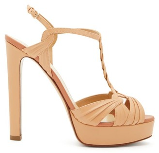 Francesco Russo Braided-strap Leather Platform Sandals - Womens - Nude