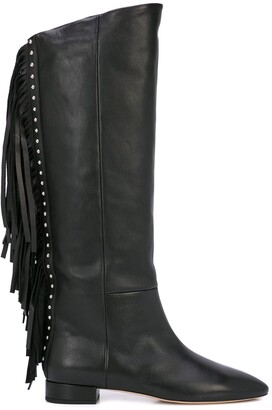 Saint Laurent Fringed Stud Detail Knee-High Boots