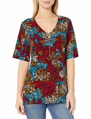 Chaus Women's S/S Mayan Floral Zipper Top