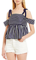 Soulmates Off-The-Shoulder Striped Peplum Top