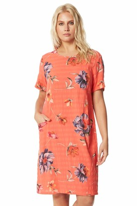 Roman Originals Women Floral Textured Cotton Cocoon Dress - Ladies 100% Cotton Spring Summer Holiday Cruise Wear Casual Slouchy Comfy Round Neck Short Sleeve Day Dresses - Coral - Size M