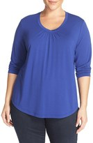 Sejour Plus Size Women's Three-Quarter Sleeve Tee
