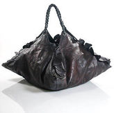 Valentino Dark Brown Leather Extra Large Double Handle Hobo Handbag