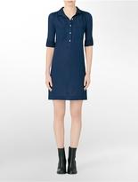Calvin Klein Jeans Roll-Up Sleeve Cotton Shirt Dress