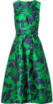 Oscar de la Renta Belted Floral-jacquard Satin-twill Dress - Green