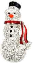 Charter Club Holiday Lane Silver-Tone Pavé & Enamel Snowman Pin, Created for Macy's