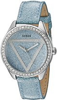 GUESS Women's U0819L1 Iconic Sky Blue Sparkle Glitter Logo Dial Watch