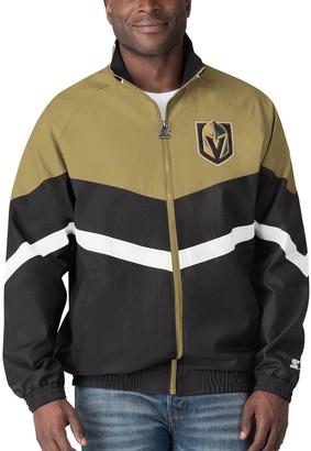 Men's Starter Black/Gold Vegas Golden Knights The Bench Coach Full-Zip Jacket