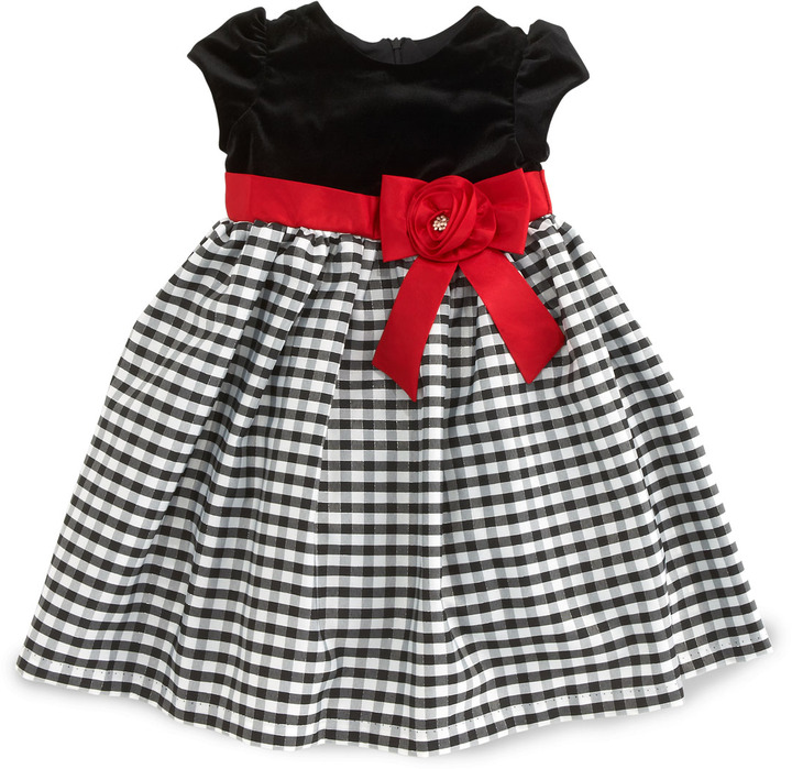 Sorbet Velvet-Bodice Plaid-Skirt Dress