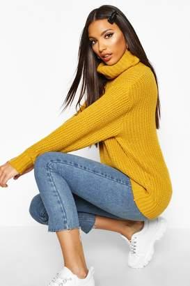boohoo Oversized Roll Neck Rib Knit Sweater