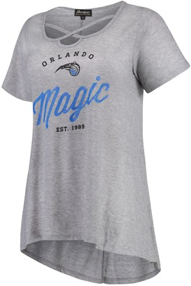Women's Heathered Gray Orlando Magic Criss Cross Front Tri-Blend T-Shirt