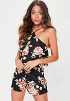 Missguided Black Floral Halterneck Playsuit, Black