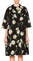Dolce & Gabbana Daisy-Print Topper Coat, Black/White/Green