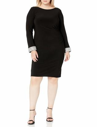Marina Women's Plus Size Jersey Short Dress with Cowl Back and Rhinestone Trim