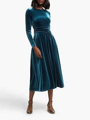 Boden Lois Velvet Midi Dress, Baltic