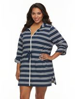 Apt. 9 Plus Size Hooded Striped Zip-Front Cover-Up