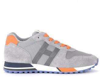 Hogan H383 Sneaker In Gray And Orange Suede And Mesh