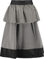 Isa Arfen Ruffled color-block stretch-cotton poplin skirt