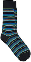 Barneys New York Men's Mixed-Stripe Wool-Blend Mid-Calf Socks-NAVY