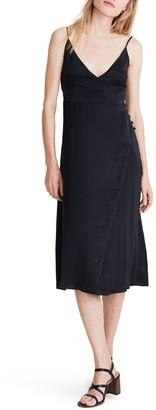 Madewell Satin Side-Button Wrap Cami Dress