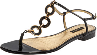 Dolce & Gabbana Black Patent Leather Chain T Strap Flat Sandals Size 38