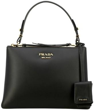 Prada Handbag In Smooth Leather With Metal Logo And Shoulder Strap