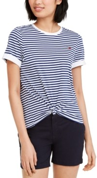 Tommy Hilfiger Striped Knot Front T-Shirt
