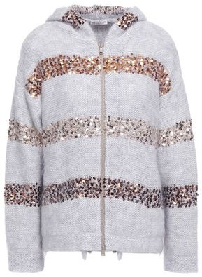 Brunello Cucinelli Sequin-embellished Brushed Knitted Hooded Cardigan