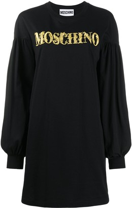 Moschino Cotton Sweatshirt Dress With Gold Embroidery And Statement Sleeves