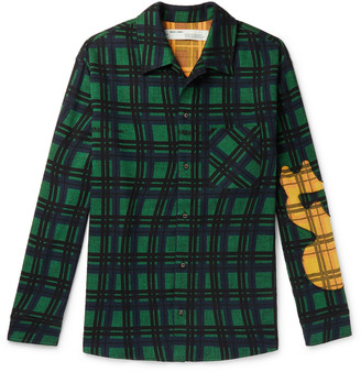 Off-White Melt Appliqued Checked Cotton-Flannel Shirt