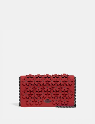 Coach Callie Foldover Chain Clutch With Floral Applique