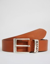 Levis Levi's Leather Belt With Logo Keeper Tan