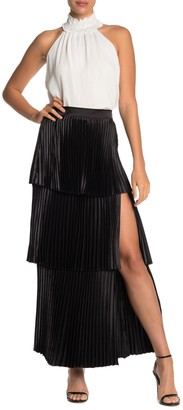 Do & Be Pleated Layered Side Slit Maxi Skirt