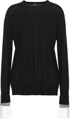 ADAM by Adam Lippes Embellished Cotton-trimmed Merino Wool Sweater