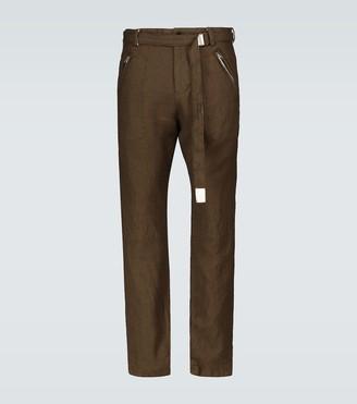 Sacai Solid Shrivel slim belted pants