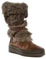 Manas Design Genuine Rabbit Fur Trimmed Platform Boot