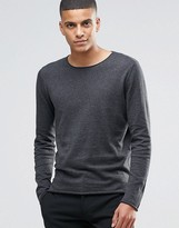 Selected Homme Silk Mix Knitted Jumper With Raw Edge