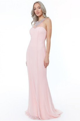 Goddiva Blush High Neck Embellished Maxi Dress