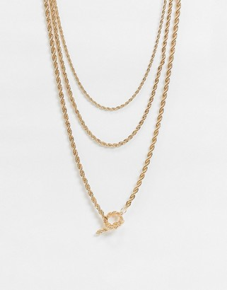 ASOS DESIGN multirow necklace with rope chain and t bar in gold tone
