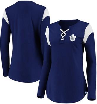Women's Fanatics Branded Blue Toronto Maple Leafs Iconic Long Sleeve Lace-Up V-Neck T-Shirt
