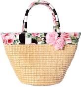 Dolce & Gabbana Roses Cotton Poplin & Straw Tote Bag