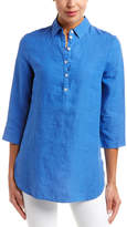 Three Dots Front Button Linen Tunic