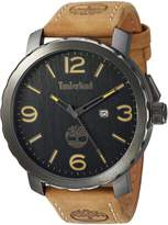 Timberland Men's 'PINKERTON' Quartz Stainless Steel and Leather Dress Watch, Color:Beige (Model: TBL14399XSU02)