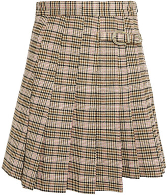 Maje Pleated Prince Of Wales Checked Twill Mini Skirt